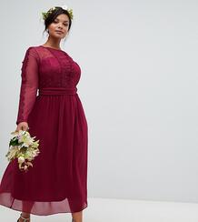 Бордовое платье миди с кружевной отделкой TFNC Plus - Красный 1329691