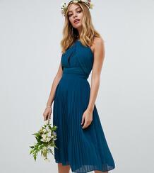 Синее платье миди с плиссировкой TFNC Petite bridesmaids - Синий 1329689