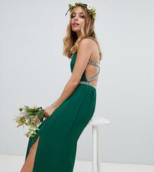 Зеленое платье макси с декоративной отделкой TFNC Petite bridesmaids 1329687