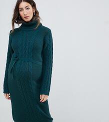 Платье-джемпер с поясом и отворачивающимся воротником Mamalicious Mama Licious 1304986