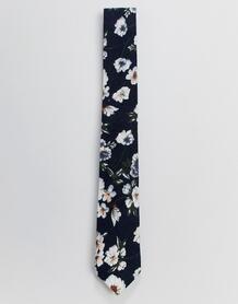 Темно-синий галстук с цветочным принтом Burton Menswear - Темно-синий 1361128