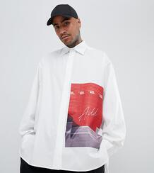 Oversize-рубашка с принтом ADD - Белый 1309092