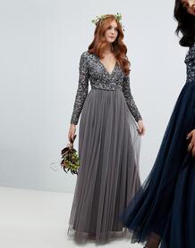 Темно-серое платье макси с длинными рукавами и пайетками Maya long 1304717