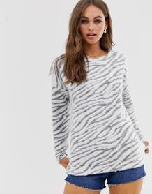 Серый джемпер с зебровым принтом New Look - Серый 1353149