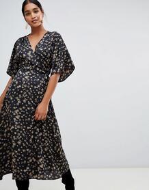 Платье миди с запахом и рукавами-кимоно Liquorish - Черный 1347024