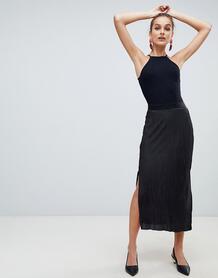 Черная плиссированная юбка миди River Island - Черный 1362281