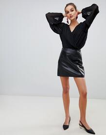 Черная мини-юбка из натуральной кожи премиум River Island - Черный 1364610
