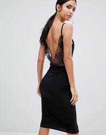 Черное платье миди с открытой спиной и кружевными вставками Missguided 1324955