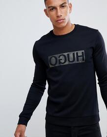 Черный свитер с круглым вырезом и камуфляжным логотипом HUGO Dicago-U 1317341