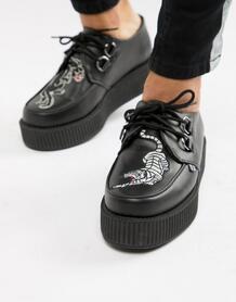 Криперы на платформе с вышивкой пантеры T.U.K - Черный T-U-K 1302757