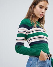 Джемпер в полоску с круглым вырезом New Look - Зеленый 1353128