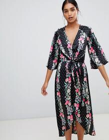 Платье макси с запахом и принтом Liquorish - Черный 1347019