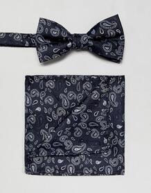 Темно-синий галстук-бабочка и платок для нагрудного кармана с принтом SELECTED 1303944