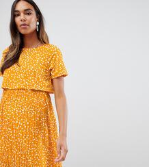 Двухслойное короткое приталенное платье для кормления в горошек с плис Asos Maternity 1332552