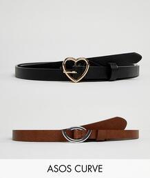 2 ремня с пряжками в форме сердца и кольца ASOS DESIGN Curve - Черный Asos Curve 1292438