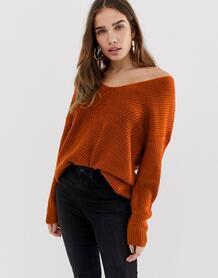 Джемпер с V-образным вырезом New Look - Оранжевый 1332017