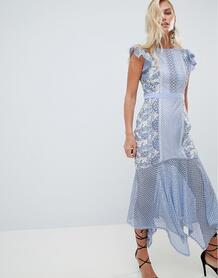 Кружевное платье футляр с годе Forever New - Синий 1249668