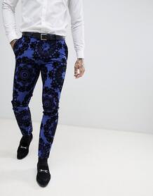 Супероблегающие брюки с набивкой флок Twisted Tailor - Синий 1225993