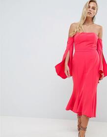 Платье миди с широким вырезом и годе Forever New - Красный 1249674
