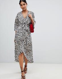 Платье миди с запахом и леопардовым принтом Liquorish - Мульти 1347010