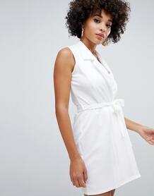 Белое платье без рукавов с поясом Missguided - Белый 1354072