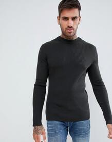 Приталенный трикотажный джемпер цвета хаки из мериносовой шерсти в руб Hugo 1317334
