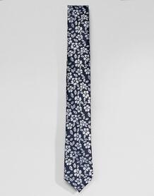 Галстук с цветочным принтом Selected Homme - Темно-синий 1303946