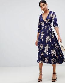 Платье миди с запахом и цветочным принтом Liquorish - Темно-синий 1346991