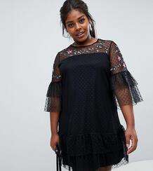 Платье из тюля с вышивкой Junarose - Черный 1277885