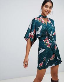 Платье-кимоно мини с чокером и цветочным принтом Liquorish - Зеленый 1346986