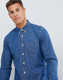Выбеленная джинсовая рубашка на пуговицах Abercrombie & Fitch - Синий Abercrombie& Fitch 1341729