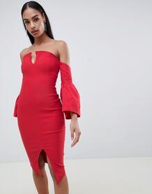 Платье-футляр с разрезом и рукавами клеш Vesper - Красный 1335105