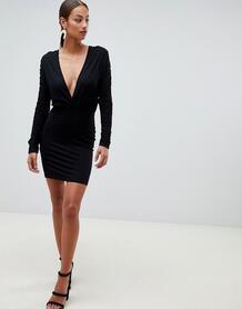 Облегающее платье мини с глубоким декольте и сборками ASOS DESIGN 1319100