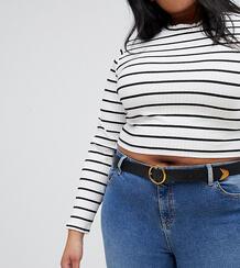 Ремень для джинсов с золотистой пряжкой ASOS DESIGN Curve - Черный Asos Curve 1294690