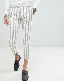 Супероблегающие брюки кремового цвета в полоску Twisted Tailor Wedding 1174524