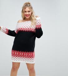 Новогоднее вязаное платье с открытыми плечами и узором Фэйр-Айл ASOS C Asos Curve 1117738