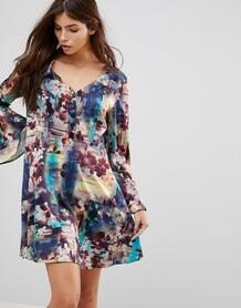 Платье с абстрактным цветочным принтом и рукавами клеш Lavand - Мульти 1136654