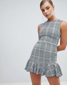 Платье мини в клетку с баской Missguided - Серый 1324958