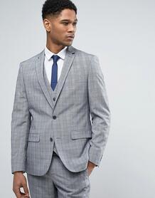 Серый клетчатый пиджак зауженного кроя River Island - Серый 1032766