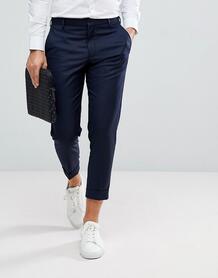 Темно-синие укороченные брюки строго кроя Selected Homme - Темно-синий 1181849