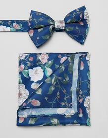 Синий галстук-бабочка и платок-паше с цветочным принтом ASOS DESIGN 1317953