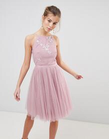 Короткое приталенное платье из тюля Little Mistress - Розовый 1294830