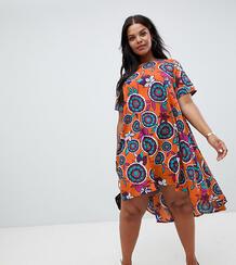 Свободное платье с принтом в стиле ретро AX Paris Plus - Мульти 1289906