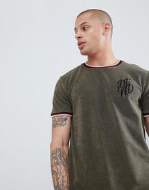 Махровая футболка с контрастной отделкой DFND - Зеленый 1294592