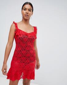 Кружевное платье мини с оборками Missguided - Красный 1286190