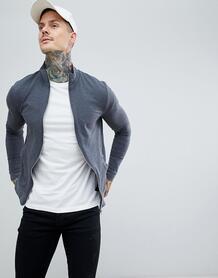 Темно-серая меланжевая облегающая спортивная куртка ASOS DESIGN 1229003