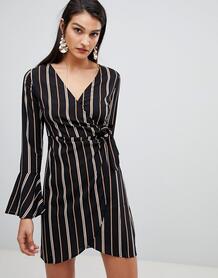Платье в полоску с запахом Lunik - Черный 1280109