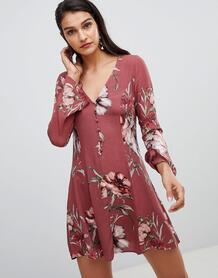 Платье с цветочным принтом и рукавами клеш Lunik - Красный 1280118