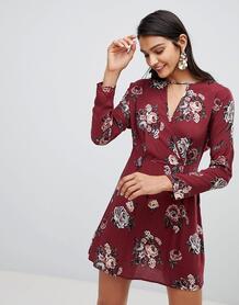 Короткое приталенное платье с цветочным принтом Lunik - Красный 1280122