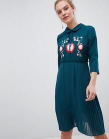 Плиссированное платье с цветочной вышивкой Liquorish - Зеленый 1277835